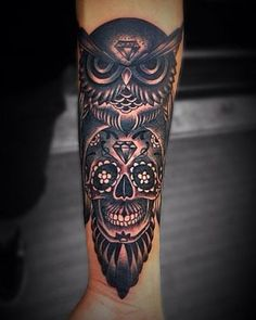 best sugar skull and owl tattoo designs                                                                                                                                                      More