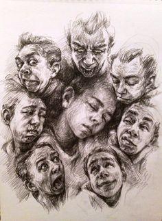 Nilay Kalayc o lu illustration drawing portrait sketch Pencil Art Drawings, Easy Drawings, Drawing Sketches, Portrait Sketches, Sketch Inspiration, Sketch Painting, Art Portfolio, Art Sketchbook, Figure Drawing