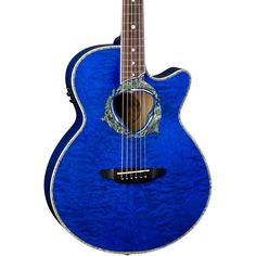 Luna Guitars Fauna Dolphin Acoustic-Electric Guitar Transparent Azure