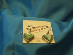 Hand Made Taxco, Mexico Silver Plated Heart Shaped Abalone Earrings