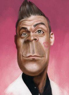 Caricature of Robbie Williams