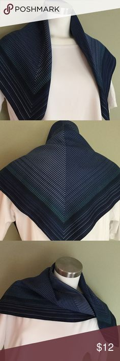 Beautiful Blue Square Scarf  Beautiful blue square scarf. No tags left. Navy, medium blue, white and a thin stripe of green. Great shape. Not worn a lot. I think it is polyester but could have some silk. Measures 26 1/2 to almost 27 inches square. Accessories Scarves & Wraps