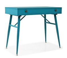 This retro writing desk will make a unique addition to your interior with its striking colour. You can use it as a computer desk for your daily work or as a console table. The desktop is made of MDF. Wood Office Desk, Office Shelf, Office Computer Desk, Pc Desk, Home Office, Computer Laptop, Vintage Writing Desk, Writing Desk With Drawers, Bureau Design