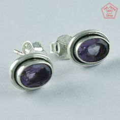 AMETHYST STONE nEw DESIGN 925 STERLING SILVER STONE STUDS JEWELRY ST4872 #SilvexImagesIndiaPvtLtd #Stud