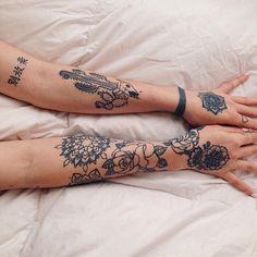 Tattoo arm sleeve floral pretty boho womens