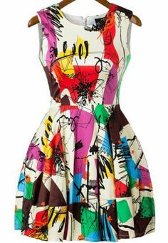 Multicolor Sleeveless Graffiti Print Flare Short Dress pictures. LOVE this dress!!