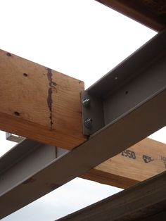 Image result for wood column connecting to steel beam