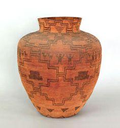 Massive Apache coiled   basketry olla