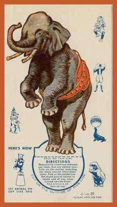 Circus Elephant toy card