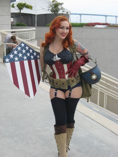 Ok, she's definitely doing it right. Gorgeous and tastefully sexy.... love it! vintage captain america