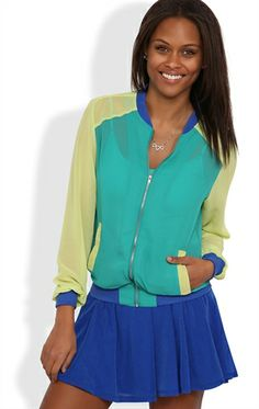 Chiffon Colorblock Baseball Jacket  20.00
