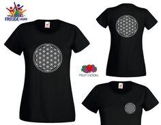 Lebensblume mit indiv Blume des Lebens Name oder Text Damen T- Shirt