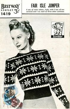 PDF Knitting pattern for a Stunning Ladies Fair Isle Snowflake Jumper - Instant Download