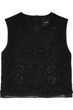 NEEDLE & THREAD Cropped Embellished Chiffon Top. #needlethread #cloth #tops