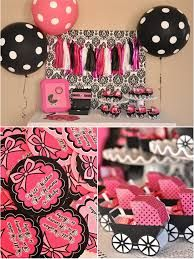 Pink And Black Baby Shower Decorations Google Search Themes