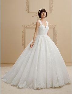 9963a8701d83 Robe de Soirée Traîne Brosse Dentelle Tulle Robe de mariée avec Dentelle  par LAN TING BRIDE