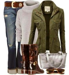 Grey Coat and White Sweater with Jeans + Belt, Long Leather Boots and Handbag with Glasses