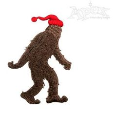 """Christmas Yeti Bigfoot Embroidery Design. Two Sizes: 2.28"""" x 1.60"""" and 3.79"""" x 2.67"""""""