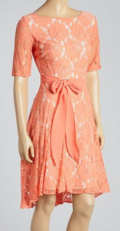 Coral Rose Lace Scoop Neck Dress