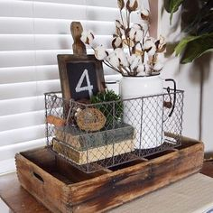 Vintage Decor Diy Small Farmhouse Accent Piece - 30 Farmhouse Tabletop Arrangement Centerpiece ideas and inspiration for your next farmhouse style makeover. Wire Basket Decor, Basket Decoration, Wire Baskets, Farmhouse Tabletop, Country Farmhouse Decor, Rustic Decor, Farmhouse Style, Vintage Farmhouse, Rustic Design