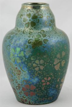 """WELLER SICARD EXCEPTIONAL 8.5"""" VASE STYLIZED BLOSSOMS SIGNED SICARD"""