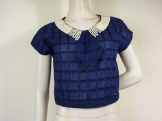1930s Blue Cotton Blouse with Bow and Cute by Caramela