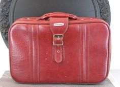 Red World Traveler Faux Leather Suitcase or Shoulder Bag (Strap Included), Monogram Interior - pinned by pin4etsy.com