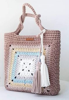 Ideas For Crochet Granny Square Bag Pattern Crochet Purse Patterns, Crochet Tote, Crochet Handbags, Crochet Purses, Crochet Baby, Free Crochet, Knit Crochet, Crochet Granny, Knitting Patterns