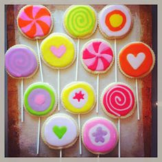 Cookies decorated to look like candies for a candy party. Margot Madison Creative
