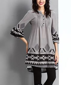 Look what I found on #zulily! Gray Geo Button-Front Tunic #zulilyfinds