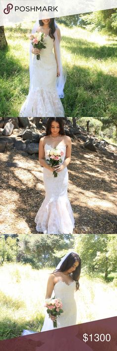 Claire La Faye Mermaid wedding gown This was purchased for a reception gown, but I sadly had no time/money to have it altered again. I loved my ceremony dress too much!This is a size 4 gown, with a bustle top for 32B. It is a mermaid fit, and the flair turns into a Light pink champagne color. This dress is a one of a kind! This dress retailed for over $2500! But it's time it leaves my closet, and goes to a well deserving bride! I did ask my dear friend to model for me, this dress was never…