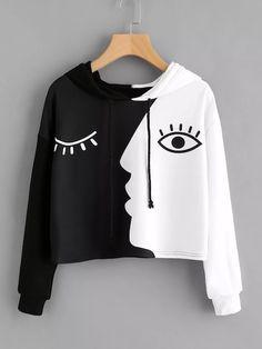 New Womens Hoodies Sweatshirt Hooded Sweater Tops Crop Patchwork Jumper Pullover Hoodie Sweatshirts, Mode Grunge, Hooded Sweater, Turtleneck Sweatshirt, Mode Style, Long Sleeve Tops, Clothes, Face Art, Crop Blouse