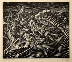 Ignaz Epper (1892-1969) -  Rettungsboot I. Holzschnitt, 1920