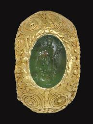 A Roman gold and plasma finger ring, circa century A.