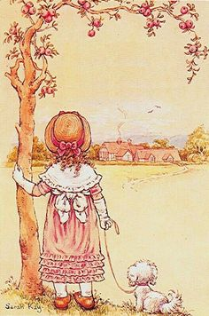 she could only imagine what life was like in the castle afar.always wondering what kind of . Sarah Key, Holly Hobbie, Ann Doll, Vintage Drawing, Sweet Pic, Creative Pictures, Australian Artists, Old Postcards, Cute Illustration
