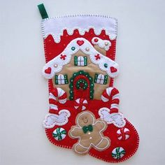 Felt Christmas cottage stocking. Pattern is pinned on my Patterns & Templates board