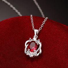 Show details for Necklaces Women Classic Round Silver Plated Copper Rhinestone 18 inches Chain Pendant