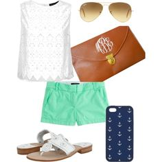 Love this little clutch.  Only $22.00 on Etsy. Rest of outfit - mint green shorts, eyelet lace top, nautical iPhone cover and classic ray bans