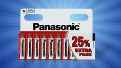 10, 40, 50, 80 or 100 Packs of AA Panasonic Batteries Give your gadgets the get up and go with a Pack of Panasonic® Batteries      Choose from a pack of 10, 40, 50, 80 or 100 batteries      Compatible AA 1.5v zinc batteries      These long-lasting batteries will keep your tools and gadgets running      Great for remote controls, toys, cameras, clocks, torches and more      Household essential...