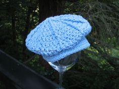 Crochet Baby Hat - Little Driver's Cap - Golf Hat - Newsboy Hat with Brim - Cotton - Baby Boy - Baby Girl - Newborn Size. $22.00, via Etsy.