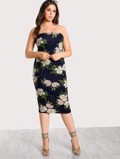 #MakeMeChic - #MAKEMECHIC Strapless Floral Print Bodycon Dress NAVY - AdoreWe.com