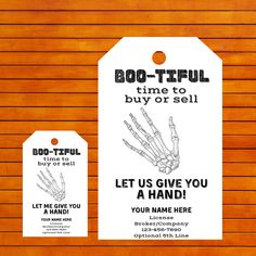 Halloween Give You Hand Real Estate Printable Trick or Treat Pop by Tag, Agent Broker Trunk Marketing Candy Label, Realtor October Business - Real Estate Gifts, Real Estate Quotes, Marketing Postcard, Candy Labels, How To Memorize Things, Things To Sell, Label Paper, Labor, Pop