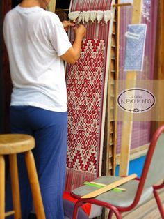 Mapuche loom, hand dyed with cochineal. Loom, Fabrics, Textiles, Art, Tejidos, Art Background, Loom Weaving, Kunst, Fabric
