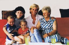 This lovely picture of Princess Diana is from her visit to Bosnia on  August 9th 1997, sadly taken just three weeks before her death.     Diana is pictured visiting a lady whose husband was killed by landmine, leaving her to look after her two sons, with the help of her mother.     Casually dressed, Diana appears so relaxed and happy in the family's company and glad to be able to bring some happiness into their lives with her visit.