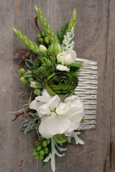 Spring comb with ranunculus, stock, and wheat: