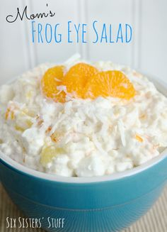Mom's Frog Eye Salad is one of those recipes that will stay in your family for years and be requested at every social gathering. It's an easy dessert salad recipe that includes Acini De Pepe pasta, pineapple, mandarin oranges, marshmallows, and more. Frog Eye Salad Recipe, Tapioca Fruit Salad Recipe, Nutrition Education, Dessert Salads, Creamy Fruit Salads, Healthy Salads, Magic Recipe, Side Recipes, Cookies Et Biscuits