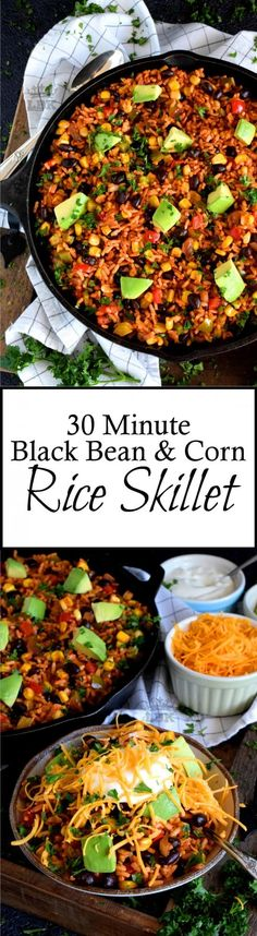 Wholesome Meals 30 Minute Black Bean Corn and Rice Skillet has everything a well-rounded, wholesome meal requires! Delicious flavour, protein, and veggies – this is the perfect family dinner recipe with numerous serving options! Pastas Recipes, Easy Soup Recipes, Rice Recipes, Easy Dinner Recipes, Mexican Food Recipes, Salad Recipes, Breakfast Recipes, Chicken Recipes, Easy Meals