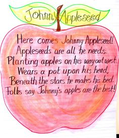 To go with Johnny Appleseed directed drawing... highlight sight words and rhyming words.