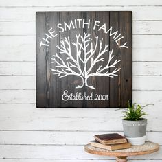 Unique family tree hand-painted sign made from reclaimed barn wood by Aimee Weaver Designs Distressed Wood Signs, Reclaimed Wood Signs, Barn Wood Signs, Painted Wood Signs, Pallet Signs, Wooden Signs, Rustic Walls, Rustic Wall Decor, Farmhouse Decor
