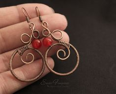Copper wire wrapped earrings with red aventurine